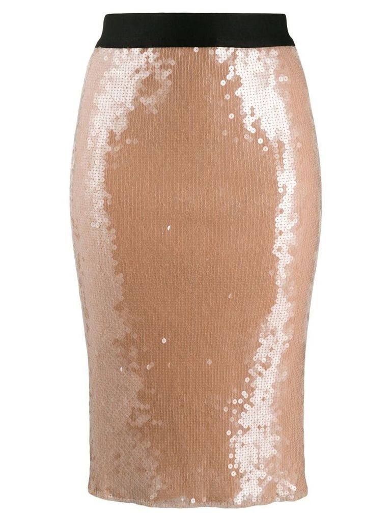 Nude sequinned high waisted skirt - Neutrals