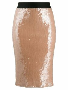 Nude sequinned high waisted skirt - Neutrals