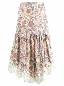See By Chloé floral print asymmetrical skirt - Neutrals