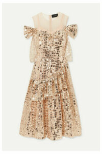 Simone Rocha - Cold-shoulder Sequined Tulle Midi Dress - Gold