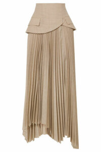 A.W.A.K.E. MODE - Pretence Asymmetric Pleated Wool Skirt - Beige