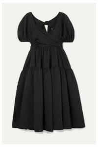 Cecilie Bahnsen - + Sophie Bille Brahe Tiered Mattelassé Silk-blend Dress - Black