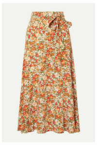 Faithfull The Brand - Asiya Wrap-effect Floral-print Crepe Midi Skirt - Peach