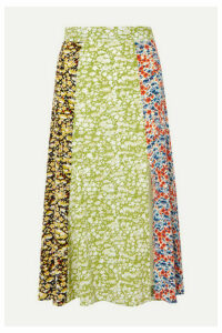 Stine Goya - Jada Floral-print Silk-crepe Midi Skirt - Lime green