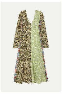 Stine Goya - Maca Paneled Floral-print Silk Crepe De Chine Midi Dress - Lime green