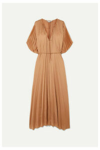 Stella McCartney - Tie-detailed Plissé-satin Maxi Dress - Sand