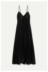 Mes Demoiselles - Maureen Pleated Velvet Maxi Dress - Black