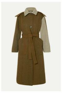 REJINA PYO - Charlie Hooded Color-block Wool-blend Felt Coat - Army green