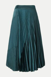 Vince - Paneled Pleated Crepe And Crinkled-satin Midi Skirt - Petrol