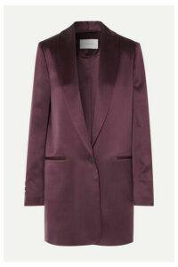 La Collection - Amandine Oversized Silk-satin Blazer - Plum