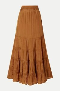Mes Demoiselles - Mazera Tiered Satin Skirt - Mustard