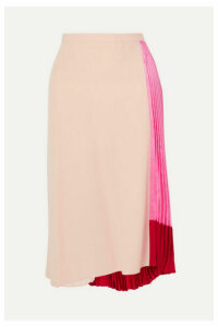 Marni - Pleated Color-block Satin And Crepe Skirt - Pink