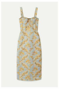 Brock Collection - Metallic Brocade Midi Dress - Light blue