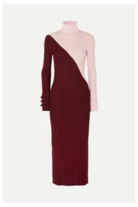 Gabriela Hearst - Nazim Two-tone Ribbed Cashmere And Silk-blend Turtleneck Maxi Dress - Burgundy