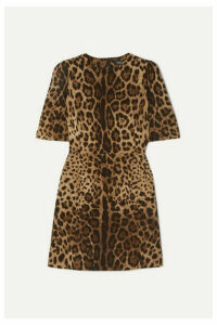 Dolce & Gabbana - Leopard-print Wool-crepe Mini Dress - Leopard print