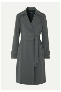 Theory - Oaklane Belted Crepe Coat - Gray
