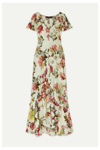 Etro - Ruffled Floral-print Hammered-satin Maxi Dress - Mint