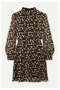 Saloni - Isabel B Printed Silk-georgette Mini Dress - Black
