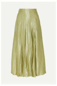 ANNA QUAN - Sable Pleated Crinkled-satin Midi Skirt - Gray green