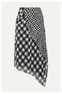 Self-Portrait - Asymmetric Draped Gingham Chiffon Midi Skirt - Black