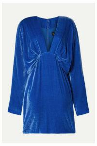 Cushnie - Draped Velvet Mini Dress - Bright blue