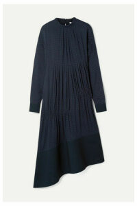 Tibi - Asymmetric Gathered Polka-dot Voile Midi Dress - Navy