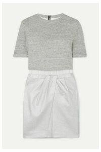 RtA - Naomi Jersey, Metallic Canvas And Stretch-knit Mini Dress - Silver