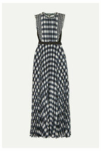 Self-Portrait - Belted Jersey-paneled Ruffled Gingham Georgette Maxi Dress - Black