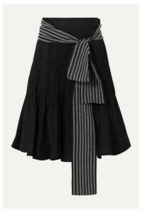 JW Anderson - Belted Pleated Cotton-blend Midi Skirt - Black