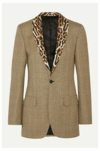 R13 - Leopard-print Voile-trimmed Prince Of Wales Checked Wool Blazer - Brown