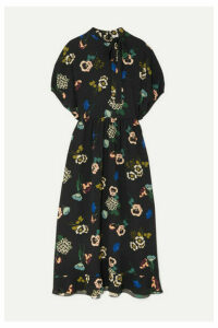 REDValentino - Pussy- Bow Floral-print Ruffled Crepe Midi Dress - Black