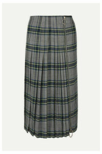 Cédric Charlier - Zip-detailed Pleated Checked Woven Midi Skirt - Gray