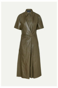 Cédric Charlier - Glossed Faux Leather Midi Dress - Army green