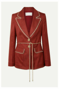 Peter Pilotto - Braid-trimmed Woven Blazer - Claret
