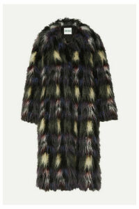KENZO - Blanket Check Faux Fur Coat - Black