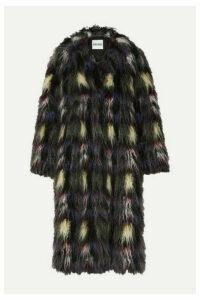 KENZO - Blanket Check Faux Fur Coat - Black