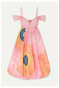 Simone Rocha - Bell Cold-shoulder Printed Taffeta Midi Dress - Pink