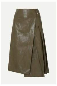 Cédric Charlier - Glossed Faux Leather Wrap Midi Skirt - Army green