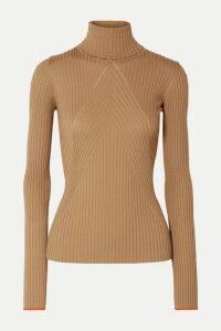 Victoria Beckham - Paneled Ribbed Wool Turtleneck Sweater - Camel