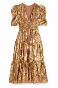 Ulla Johnson - Loretta Tiered Devoré-chiffon Midi Dress - Gold