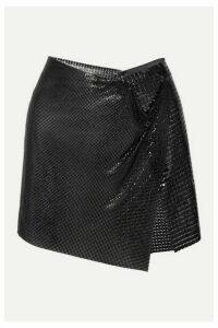 Fannie Schiavoni - Elsa Asymmetric Chainmail Wrap Mini Skirt - Black