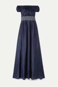 I.D. Sarrieri - Malibu Sunshine Cutout Floral-embroidered Silk-blend Maxi Dress - Navy