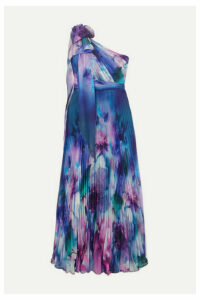 Marchesa Notte - One-shoulder Pleated Printed Chiffon Gown - Blue