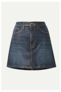 FRAME - Le Mini Coated Stretch-denim Skirt - Dark denim