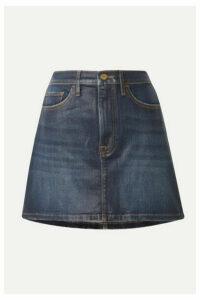 FRAME - Le Mini Coated Stretch-denim Skirt - Dark denim
