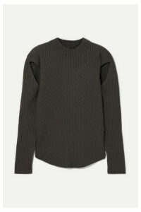LOW CLASSIC - Cutout Ribbed-knit Sweater - Brown