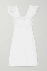 Adam Lippes - Belted Draped Printed Silk-twill Midi Dress - Brick