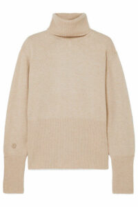 LOW CLASSIC - Embroidered Knitted Turtleneck Sweater - Ecru