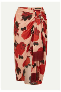 Mother of Pearl - Emma Embellished Ruched Floral-print Satin Midi Skirt - Pink