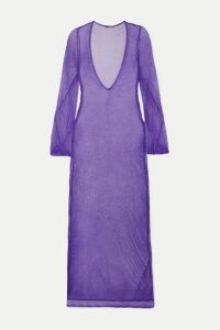 Caroline Constas - Metallic Crochet-knit Maxi Dress - Purple